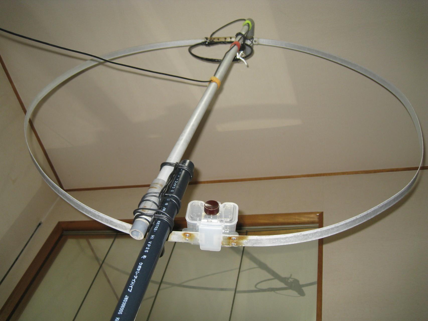 直径120cmMLA(直径25cm給電LOOP):JH1AGL局からいただいたものをファラデーシールド結合に一部改造したMLAです。