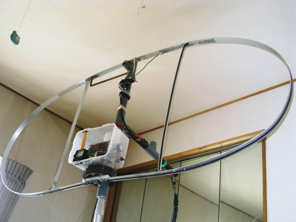 全周長400cm(内L260cm)MLA:ダブル・ループMLA:CIS-MLAと命名:(自作1:1バランを給電部に入れた垂直設置写真室内)