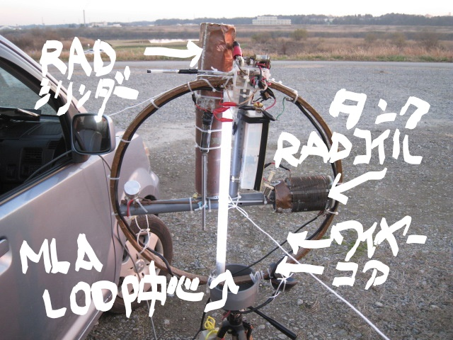LOOP頂部電極間に水晶塊接続(高周波電圧上昇?・・・蛍光管の輝きが上昇)同軸線ケーブル三回巻きで給電/RADタンクコイルにMLA中心点からワイヤー線で接続LOOP頂部のコアを給電部に移設