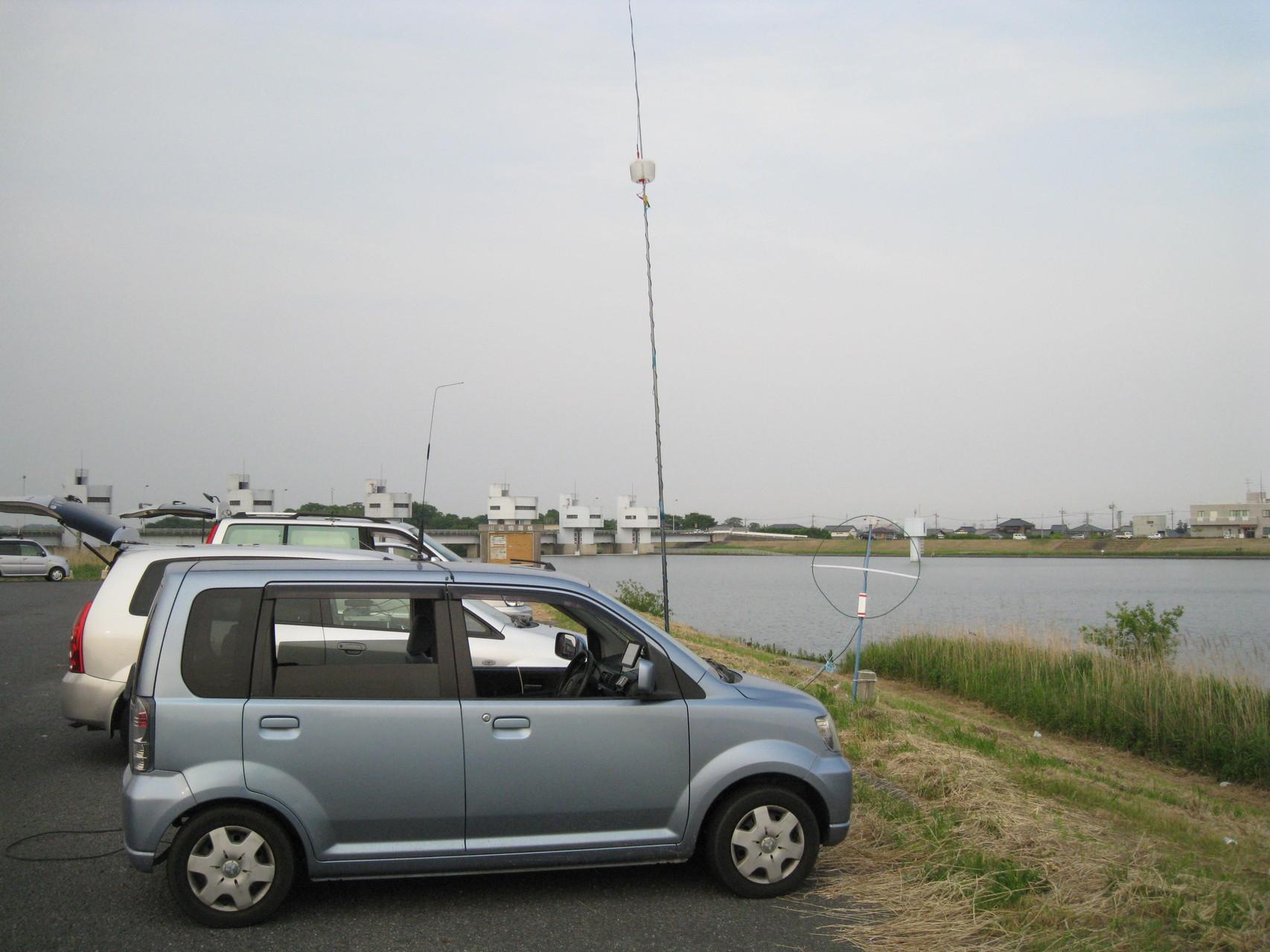 小貝川リバーサイド移動運用時のVCHアンテナ