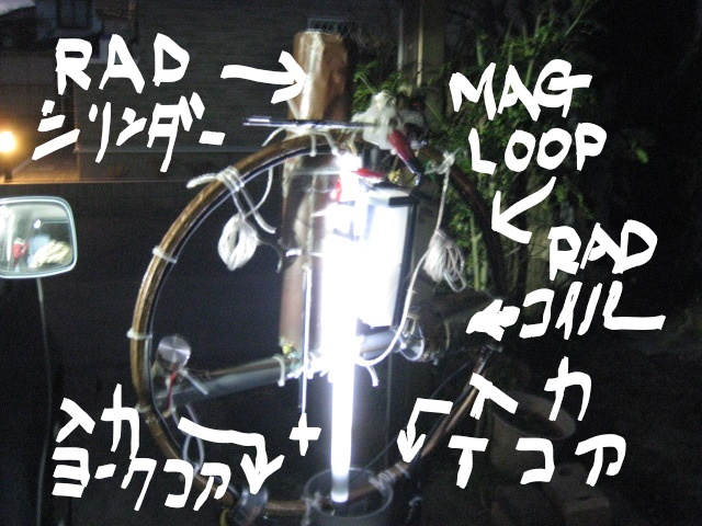 TV用ヨークコアに同軸二回巻き及びTコアに同軸三回巻き(トロイダルコア)でダブル高周波入力:MAG-RAD-LOOPアンテナ