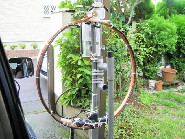 Φ直径65cmMLA(銅箔でリムを包み込み、ファラデイシールド給電LOOP及び同調部等変更1.3mH垂直LOOP-TOP高