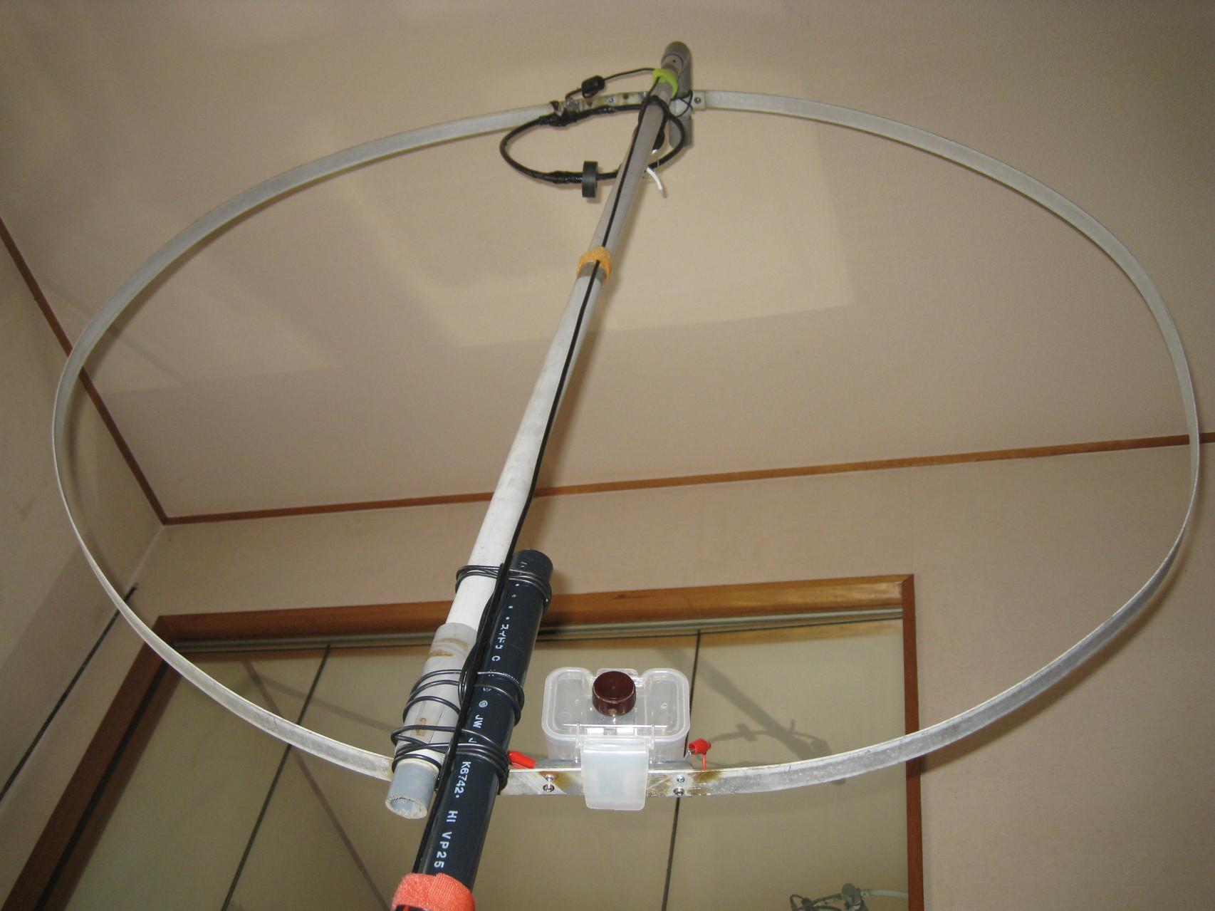 直径120cmMLA(直径25cm給電LOOP):ファラデーシールド結合LOOPにリング・マグネット取り付け/2014.02.15~運用障害なし/DX可能