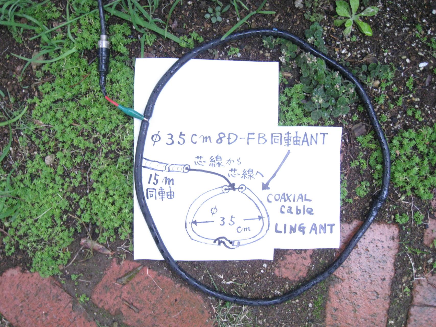 地上高ゼロメートル/地面置き Φ35cm LING ANT(LINGの給電ぶ反対側はクロス接続)