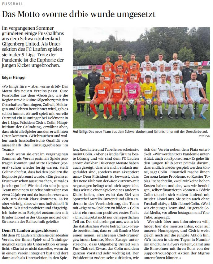 Gilgenberg United im Wochenblatt