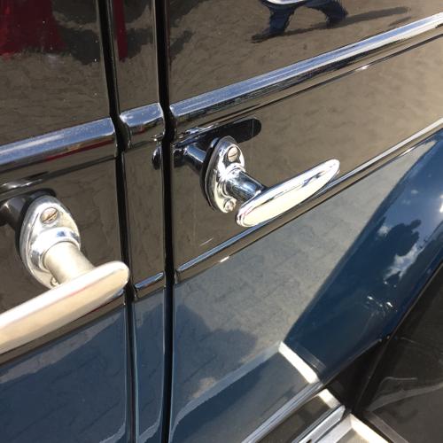 Anfertigung Türgriff für Chrysler 70 aus massiv Messing glänzend verchromt, nachguss.de
