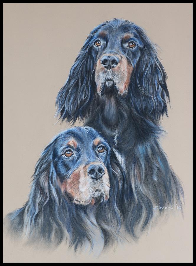 Hundezeichnung, Tierzeichnung, Hundemalerei, Tiermalerei, Gordon Setter, Hundeportrait, Zeichnung, Pastellzeichnung