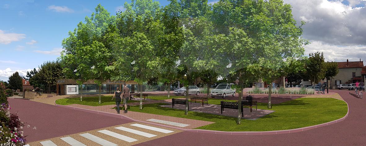 Création d'un espace paysager dédié aux piétons