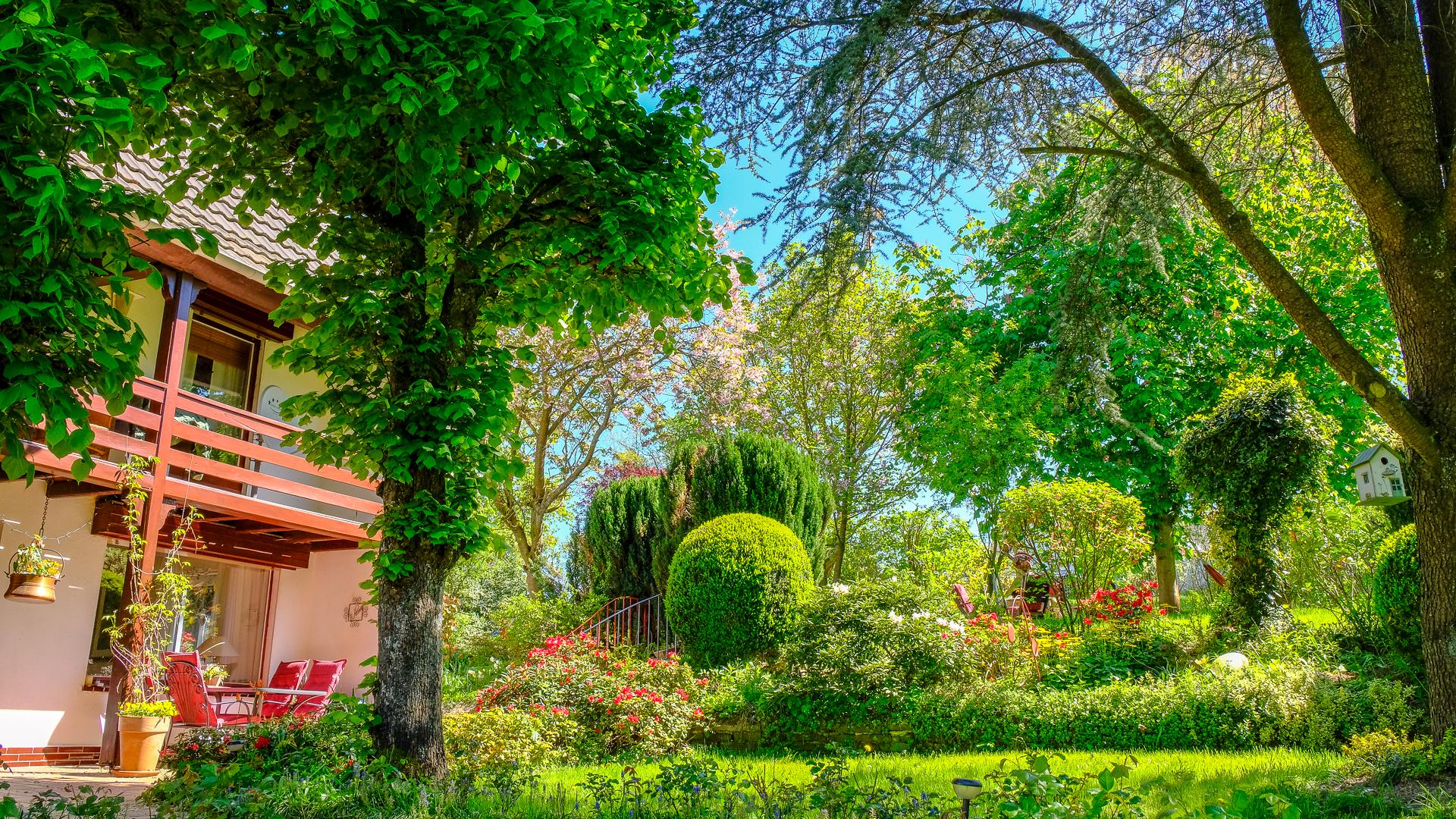 Blick vom Parkplatz auf Haus und Garten