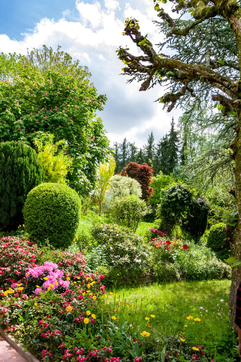 Blick von der Terrasse zum oberen Garten....