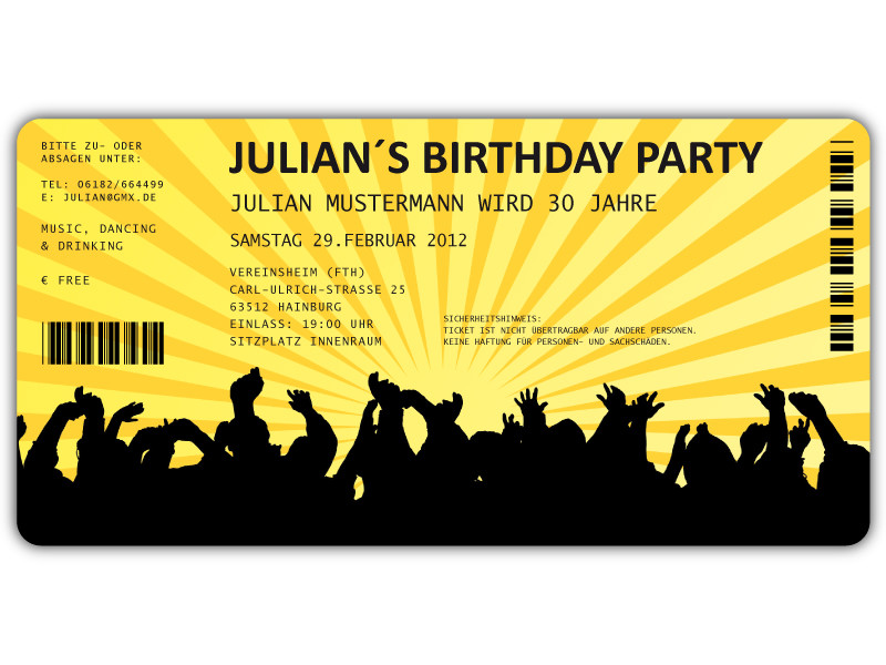 Einladungskarten zum Geburtstag als Eintrittskarte Konzertkarte Ticket ...