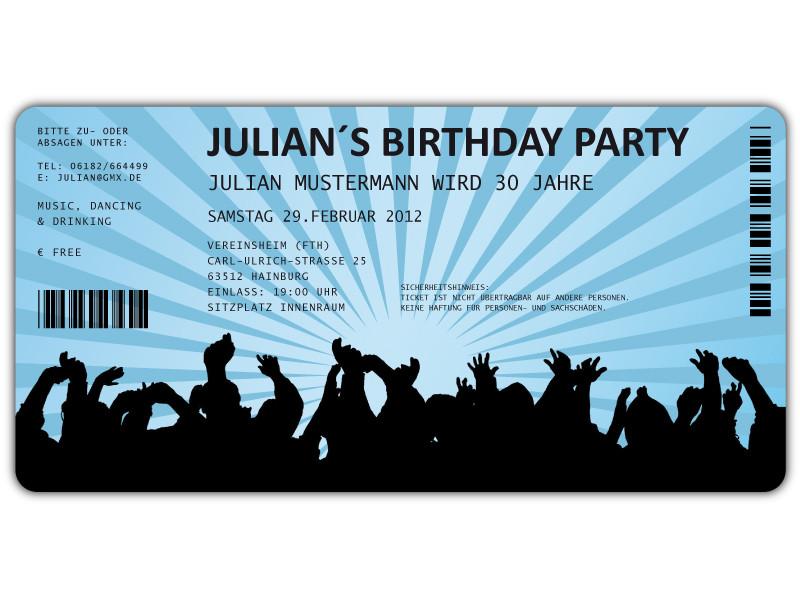 Einladungskarten als Ticket Geburtstag Vintage - exklusivedrucksachen