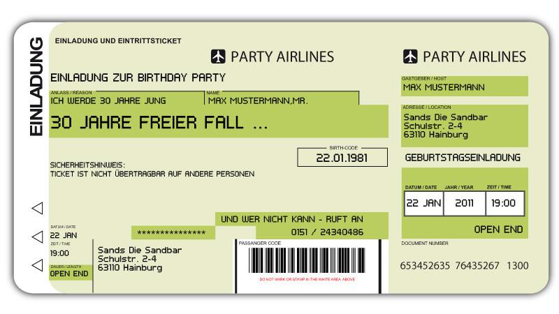 Einladungskarten Flugticket Geburtstag Hochzeit Tickettasche ...