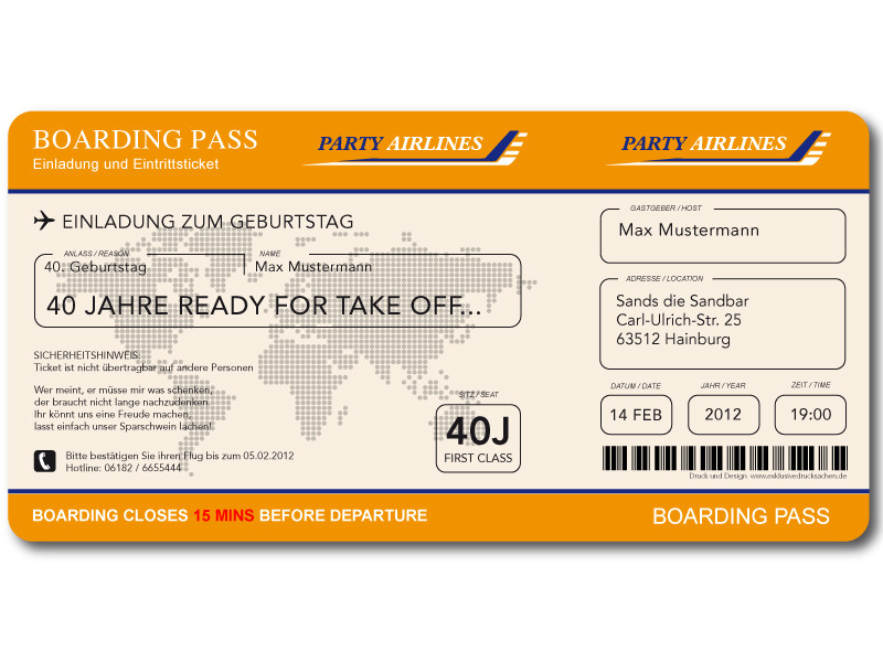 Airline ticket template editable