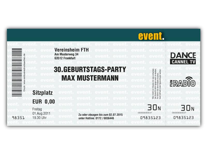 Einladungskarte Zum Geburtstag Als Eintrittskarte, Ticket, Konzertkarte,  Partyticket Art.044