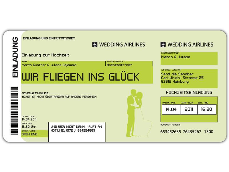 Einladungskarte Hochzeit Als Flugticket Boarding Pass Art ..