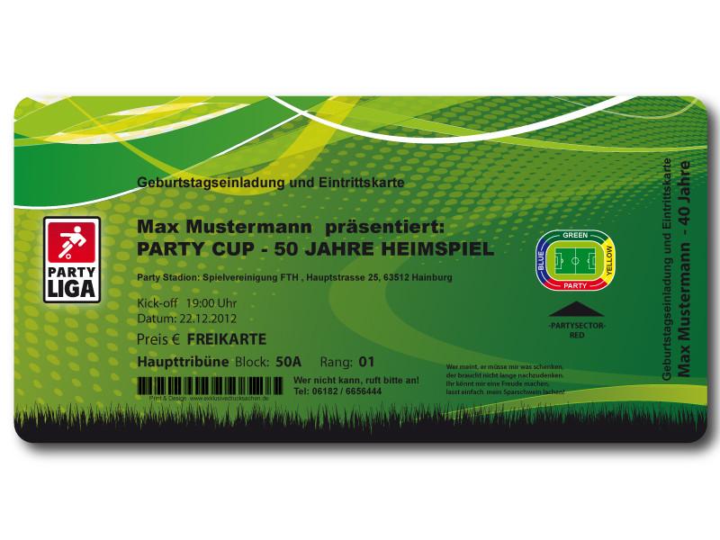 Einladungskarten Fussball Eintrittskarte - exklusivedrucksachen
