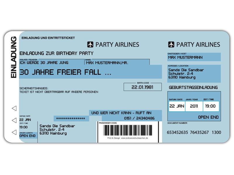 Einladungskarten Flugticket Geburtstag Hochzeit ...