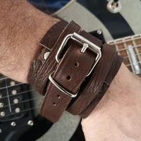 braceleten cuir pour homme en cuir epais marron made in france