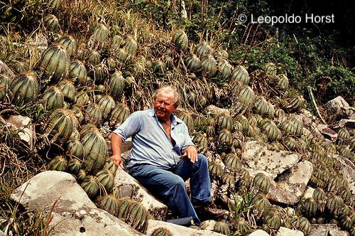 Prof. Dr. Werner Rauh in habitat Parodia magnifica, Rio Grande do Sul 1981