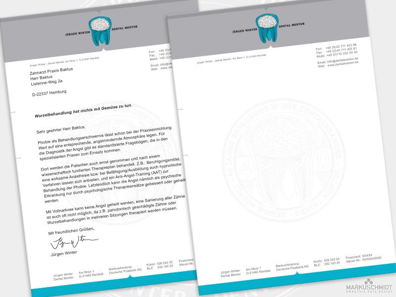 Job: Briefpapier Design, Client: Jürgen Winter - Dental Mentor