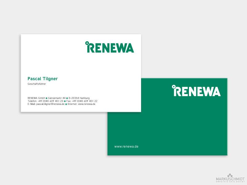 Job: Visitenkarten Design, Client: Renewa GmbH