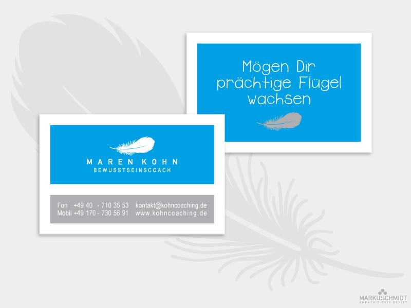 Job: Visitenkarten Design, Client: Maren Kohn - Bewusstseinscoach