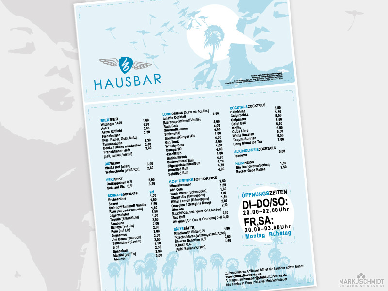 Job: Aushang Design, Client: Hausbar, Bar & Eventlocation