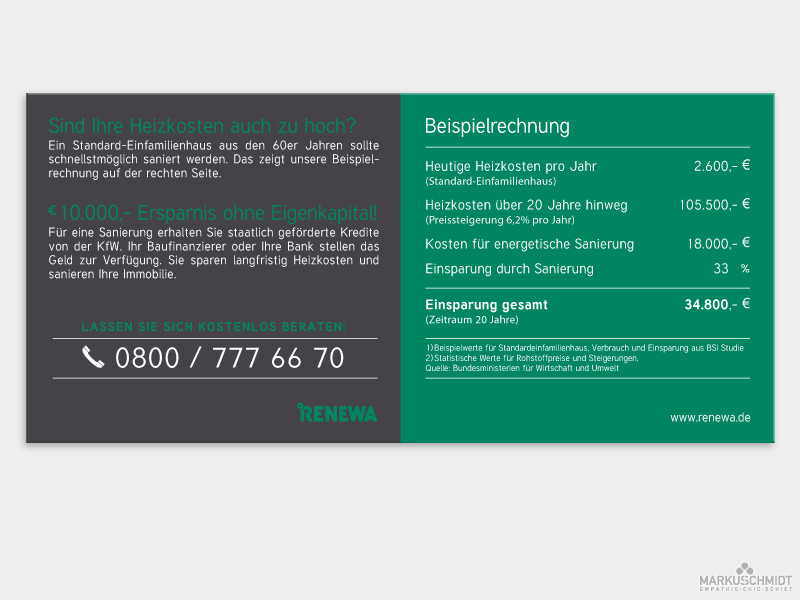 Job: Flyer Design, Client: Renewa GmbH