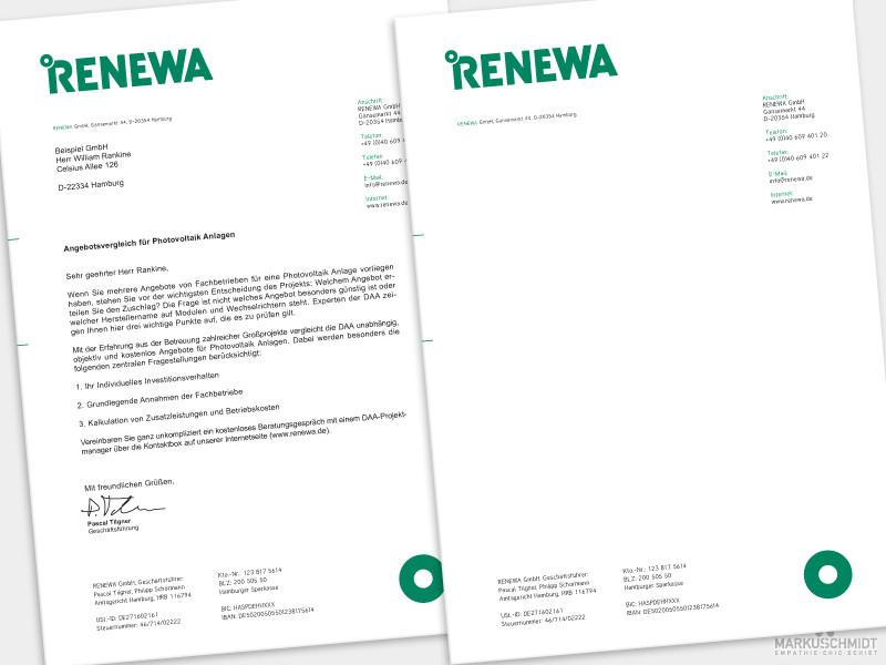 Job: Briefpapier Design, Client: Renewa GmbH