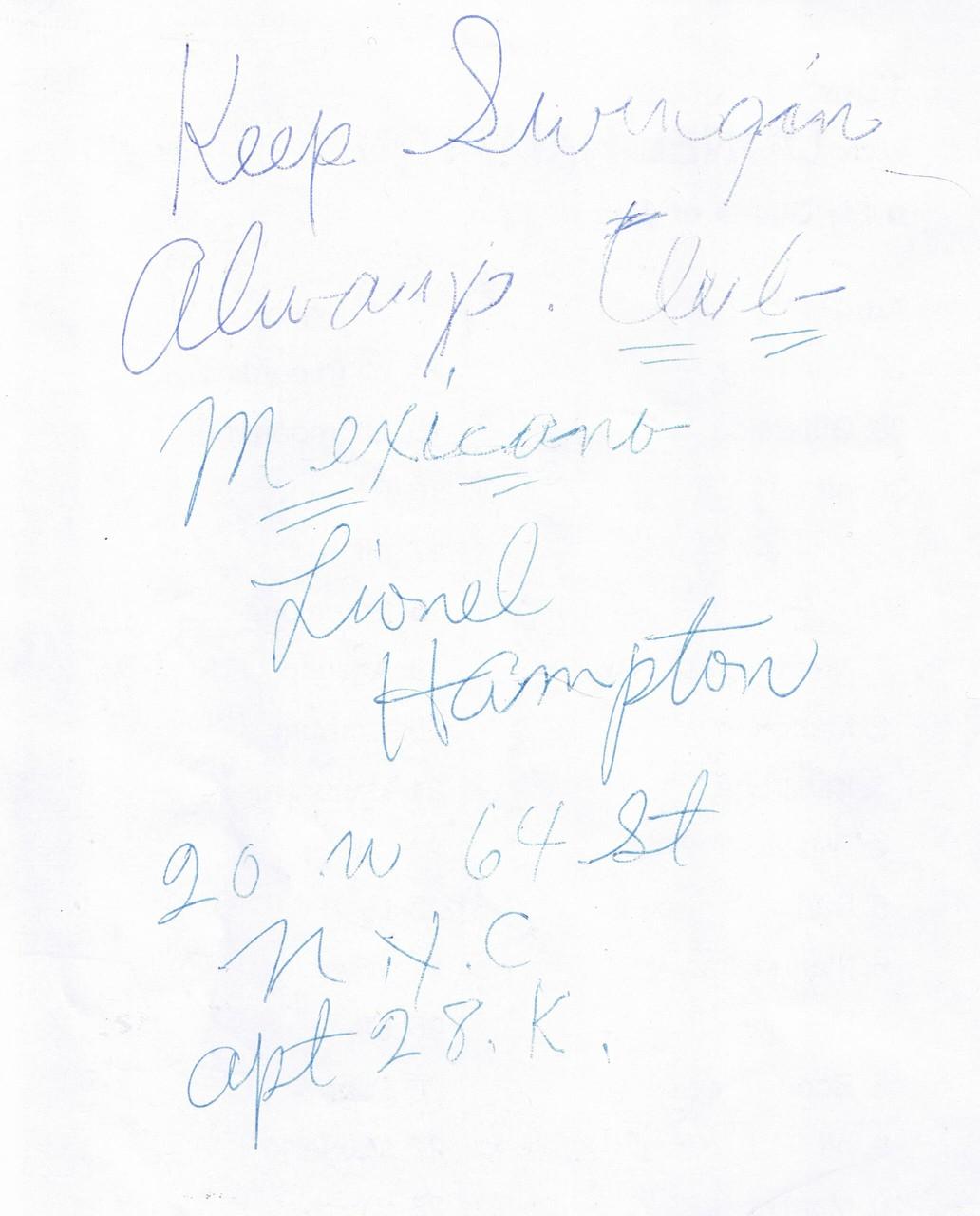 Signatur von Lionel Hampton bei einem Besuch von Adi im Brucknerhaus Linz