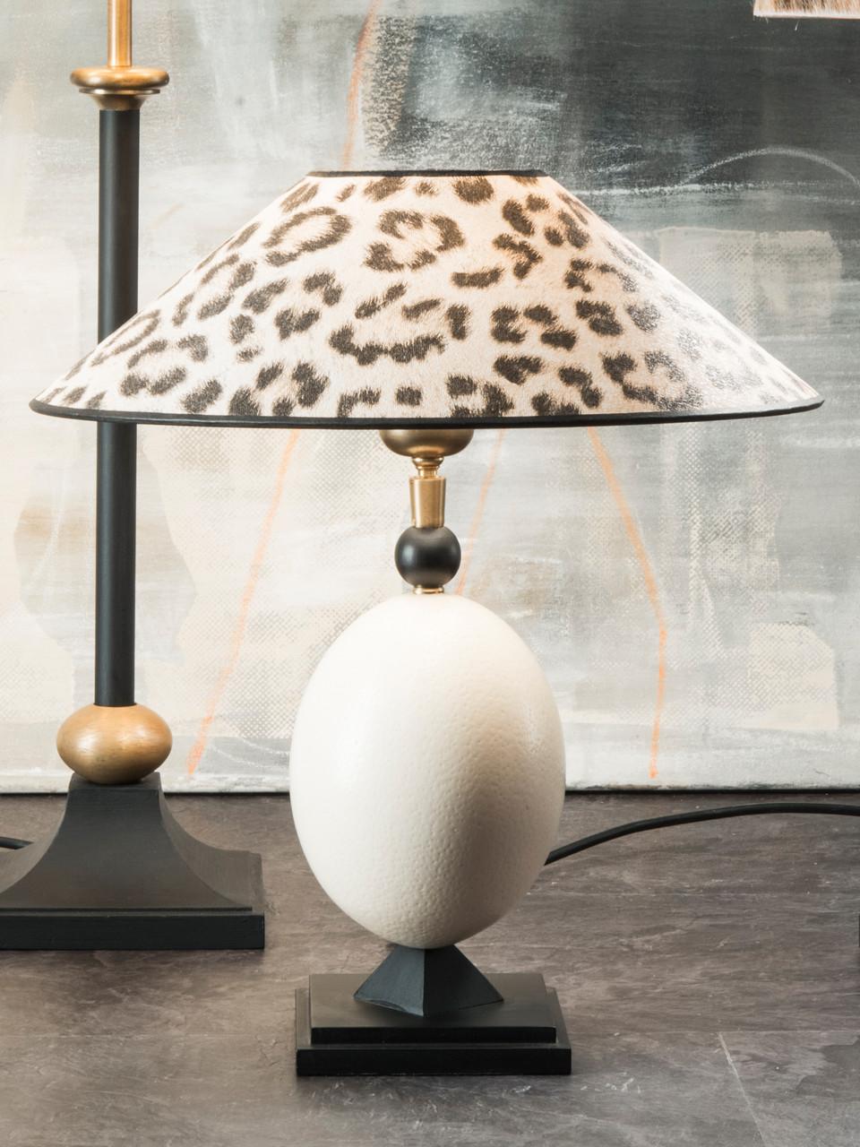 Tischleuchte Strußenei, Schirm mit Leoprint