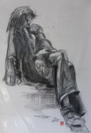 Menschenplanet , Champs Elysees , Zeichnung , Kohle und Tusche auf Papier