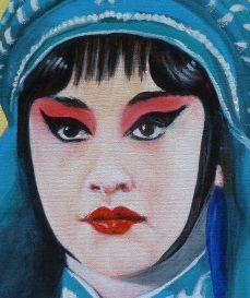 Menschenplanet - Pekingoper - Porträt, Öl auf Leinwand