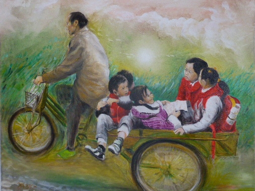 Menschenplanet, Im Reich der Mitte , Chinesischer ÖPNV - Öl auf Leinwand