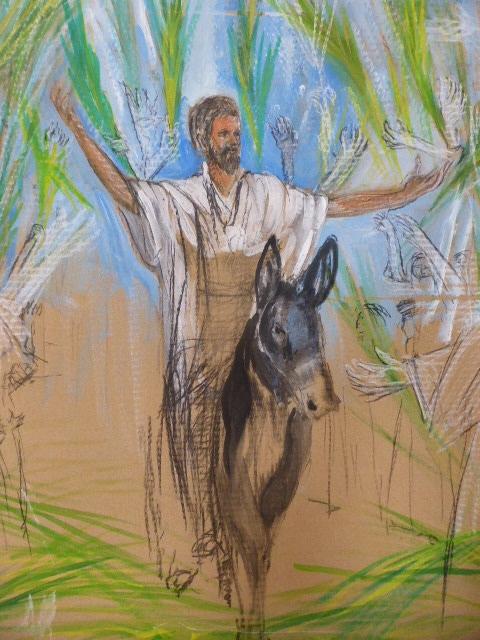 Einzug nach Jerusalem, Entwurf , Zeichnung auf Pappe