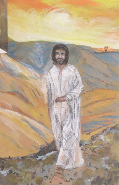 Christus in der Wüste, Entwurf , Zeichnung auf Pappe