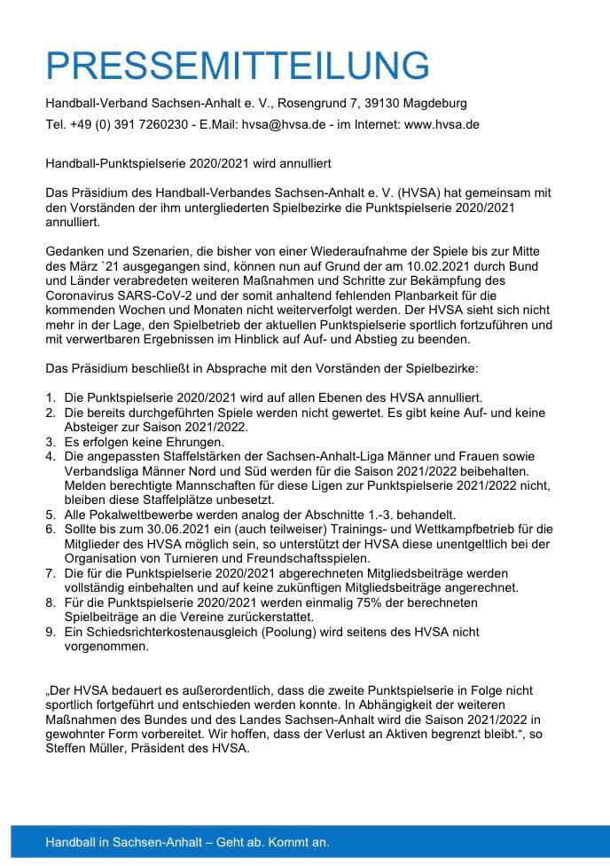 Spielbetrieb Saison 20/21 eingestellt