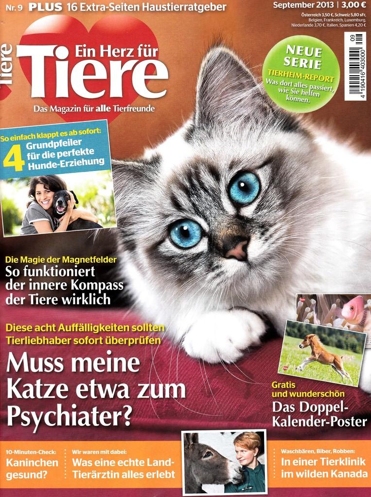 """Magazin """"Ein Herz für Tiere""""  Sept. 2013"""