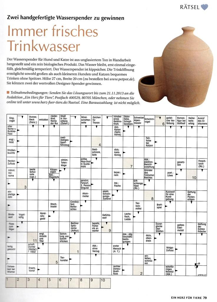 """""""Herz für Tiere"""" - Ausgabe November 2013"""