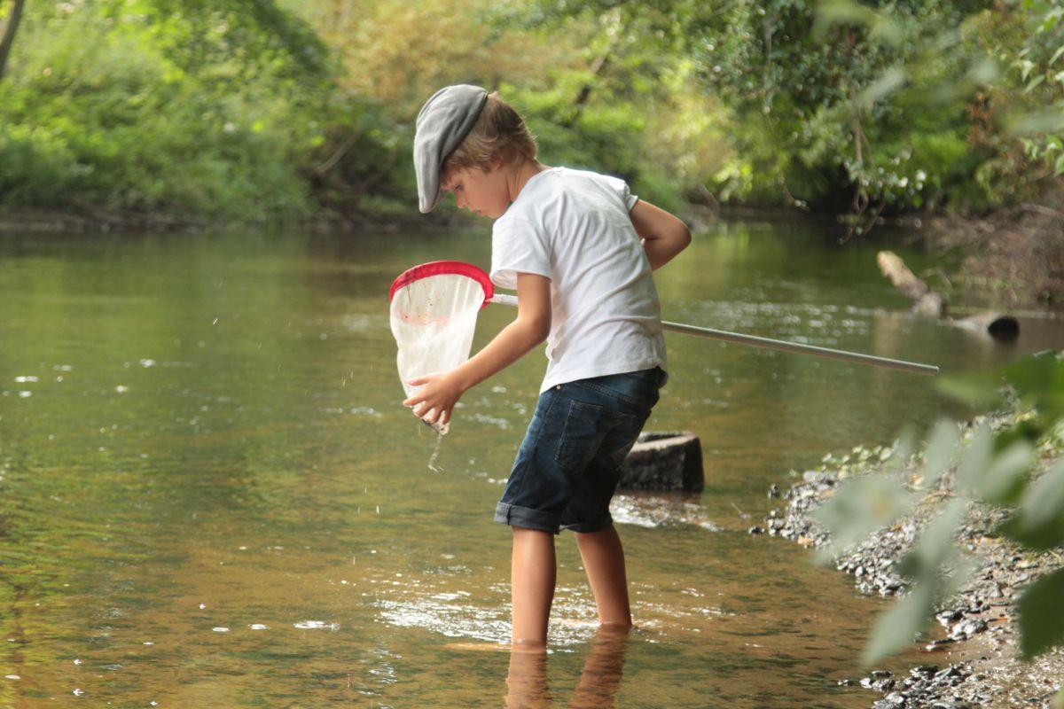 Nach dem Paddeln gingen die jungen Alster-Forscher mit dem Kescher auf die Jagd nach den tierischen Flussbewohnern (Foto: A. Lampe).