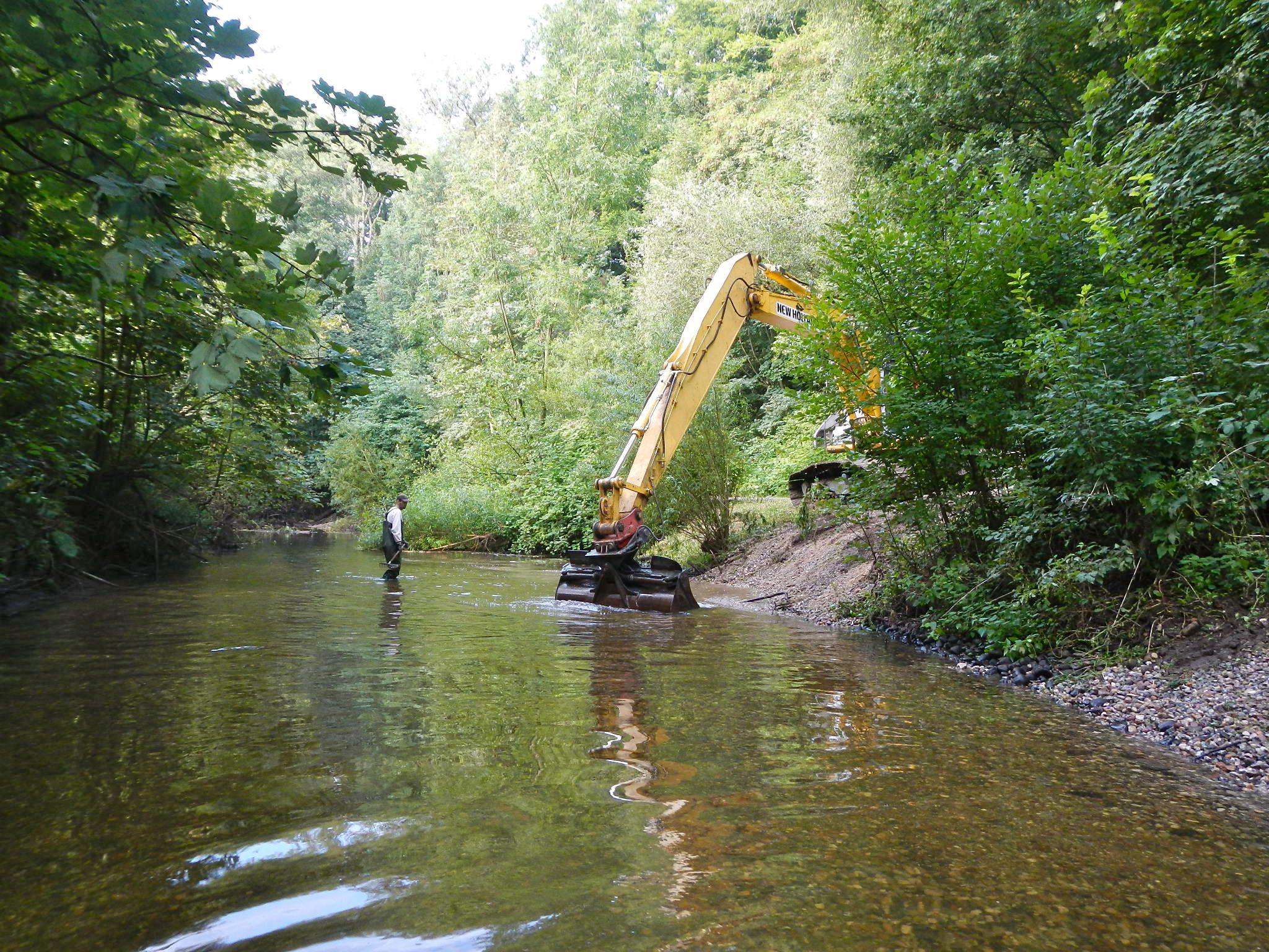 Ein 25 Meter langes und 150 Tonnen schweres Kiesbett unterhalb der Mündung der Minsbek trägt seit Mitte August 2013 zur Belebung der Alster bei.