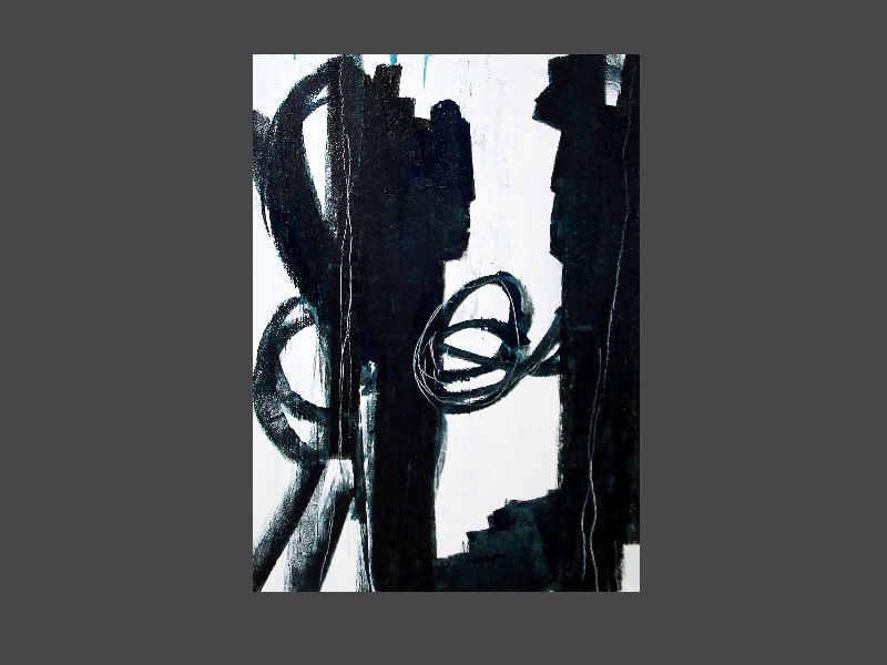 schwarz weiß blau Bild - 100 x 80 cm