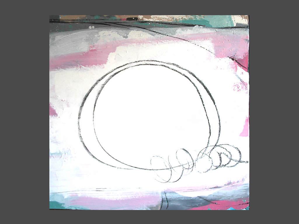 Bild in weiss und rosa - Seilspringen