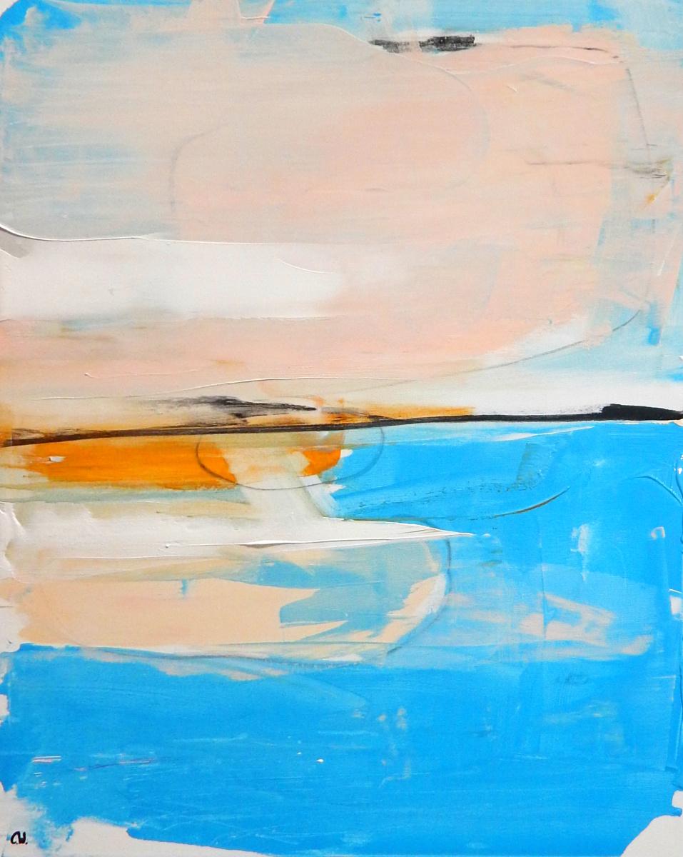 hellblaues Gemälde gemalt