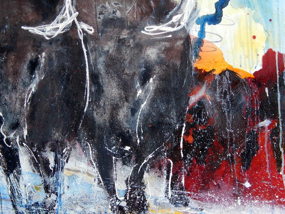 stier abstrakt gemalt gemälde