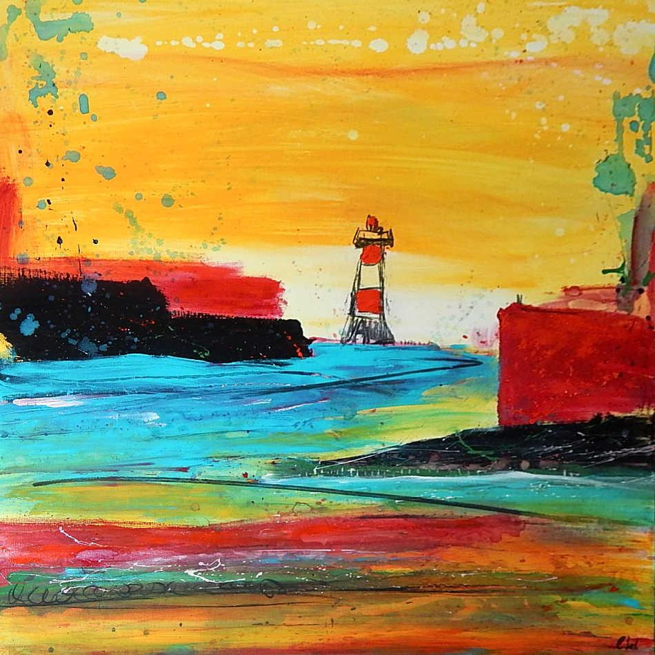 2016 malte ich den Auftrag für einen Kunden - ein ähnliches Bild wie der Leuchtturm von 2015