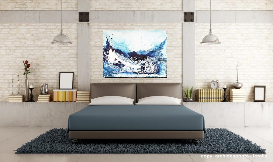 bild blau für sofa