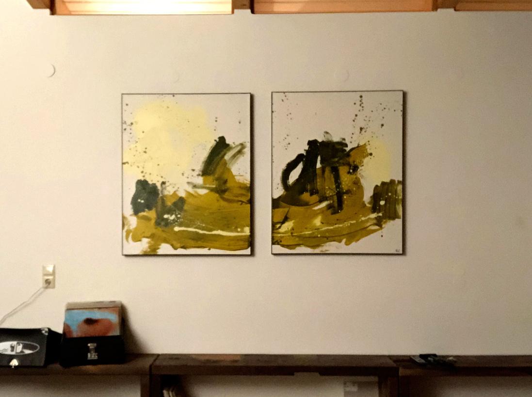 Der Komponist - abstrakte grüne Gemälde
