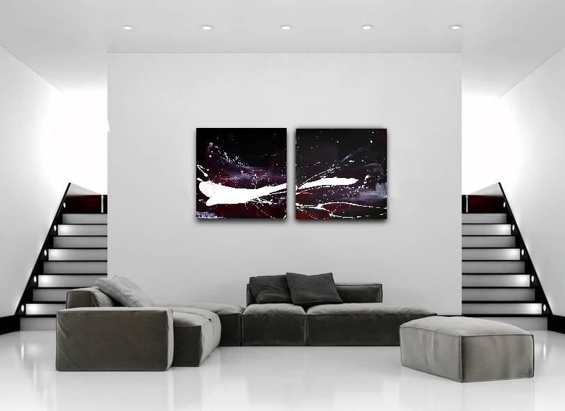 schwarz weißes lila Bild